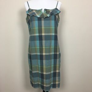 LOFT Blue and Green Plaid Shift Dress